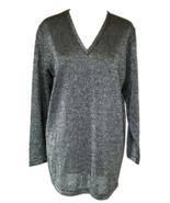 70s-80s Vtg Silver Lurex Metallic Thread Glitter Jersey Knit Long Tunic ... - $32.00