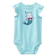 GYMBOREE BABY GIRL 6-12 MER-CAT MERMAID KITTY CAT RUFFLE SLEEVE BODYSUIT... - $9.89
