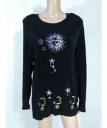 Vtg 90s Tanuja Dior Black Celestial Sun Moon Stars Slinky Ribbed Knit Top L - $20.00