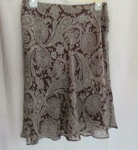Compagnie International Express skirt M brown paisley semi sheer lined - $16.61