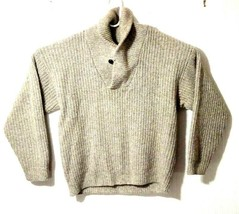 Eddie Bauer Men's Sweater M Brown Wool Shawl Neck Cable Knit Pullover Ca... - $29.52