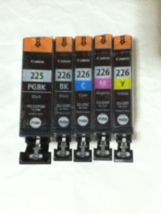 Genuine 5-Pack CANON PGI-225 Black CLI-226 B/C/M/Y Ink Cartridges - $48.29