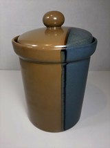 """Sango 5040 Gold Dust Green Small Canister with Lid -5.25"""" w/o lid, 6.5"""" with lid - $9.49"""