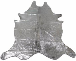 Silver Metallic Cowhide Rug Size: 7.4 X 6.5 ft Silver Metallic on Speckl... - $216.81