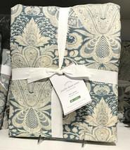 Pottery Barn Janelle Duvet Cover Set Blue Queen 2 Euro Shams Damask 3pc  - $138.00