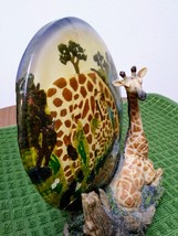 Unique Resting Giraffe Statue & Mother/ Baby Plate on Rockery Base made in China image 5