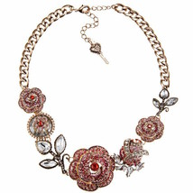 Betsey Johnson Necklace Statement Pave Ombre Rose NEW - $123.75