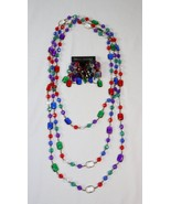 "Acrylic Jewel Beaded Necklace 44"" & Pierced Dangle Earrings Fashion Set ... - $19.79"
