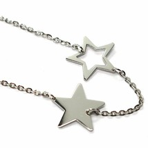 18K YELLOW WHITE GOLD OVAL ROLO BRACELET WITH ALTERNATE FLAT STARS, ITALY MADE image 2