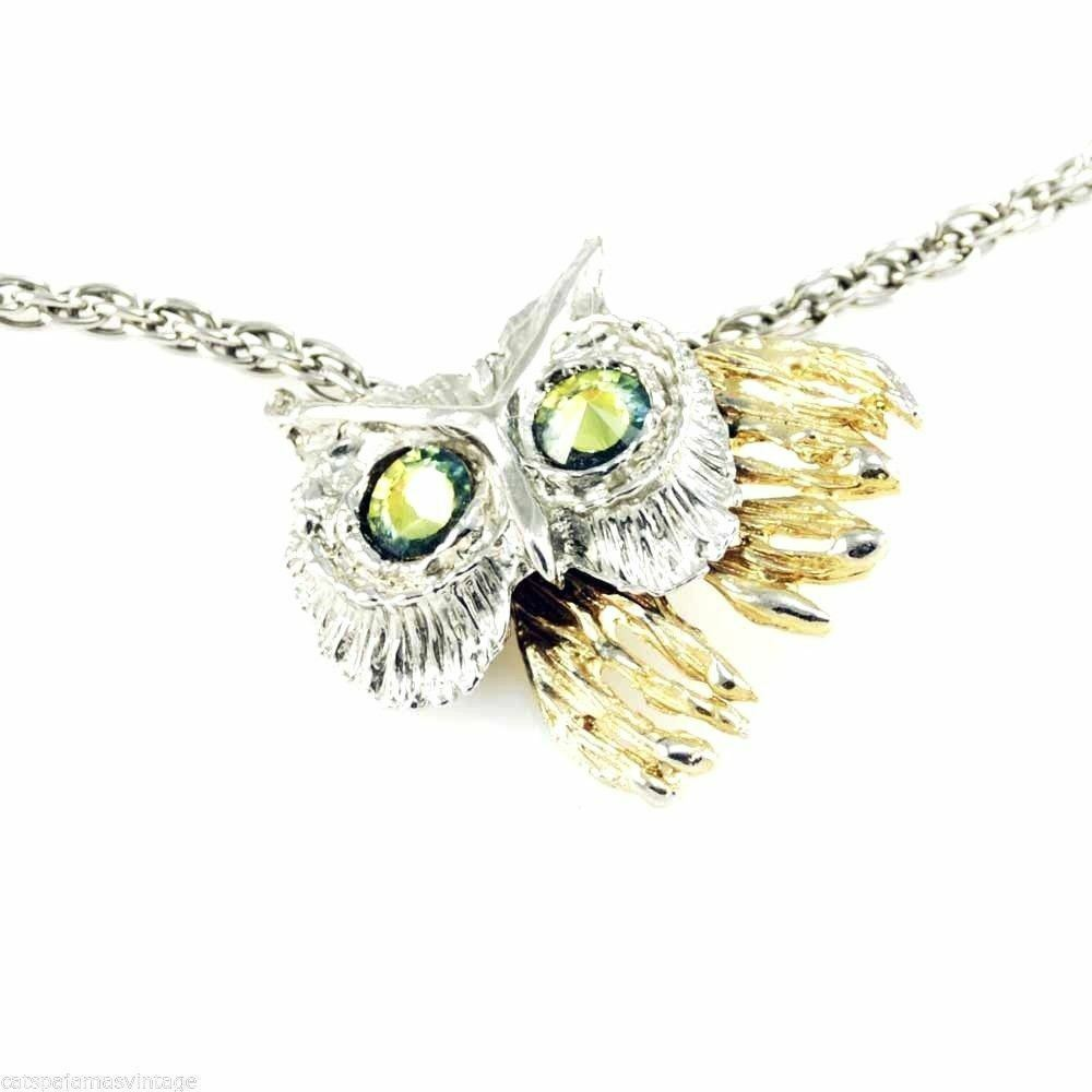 Vintage Articulated Owl Necklace Pendant Gold & Silver Tone Partial Piece  1970S