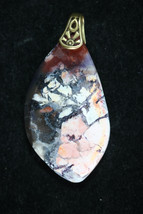 Tiffany Stone pendant, purple pink white black, brass bail 68ct - $49.00