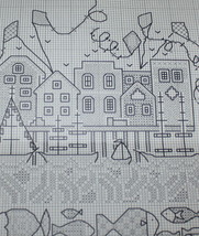 Watertown Cross Stitch Pattern Chart Meredith Mark Buildings, Kites Fish... - $7.43