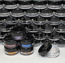 5 Empty Cosmetic Jars Small Sample Makeup Containers 3 Gram Ml Black Top #5030 - $7.95