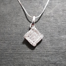 New 14k White Gold On 925 Diamond Shape Pendant Charm - $27.53