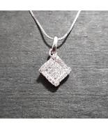 New 14k White Gold On 925 Diamond Shape Pendant Charm - $27.53