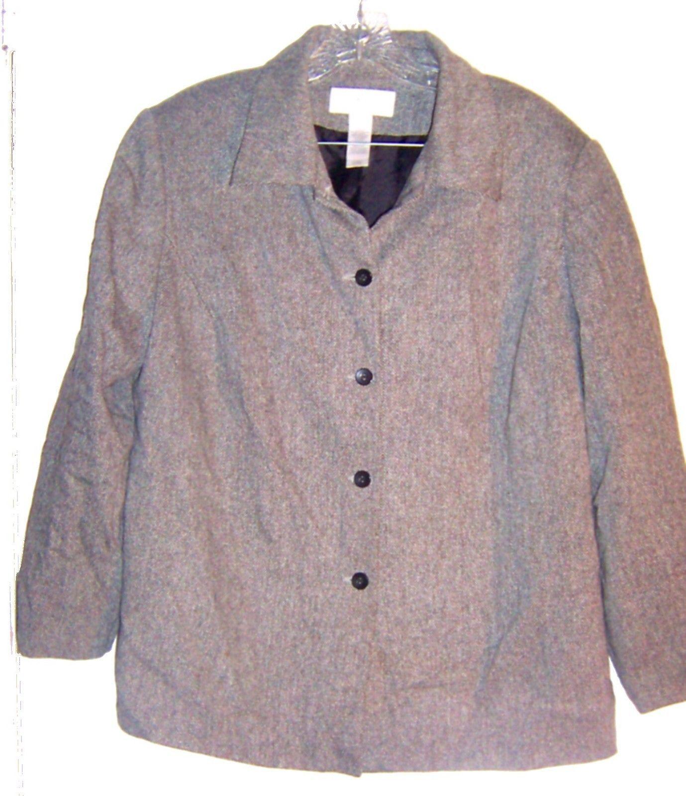 Liz Claiborne Black & White Herringbone Print Wool Blazer Jacket Size 16W  - $47.49