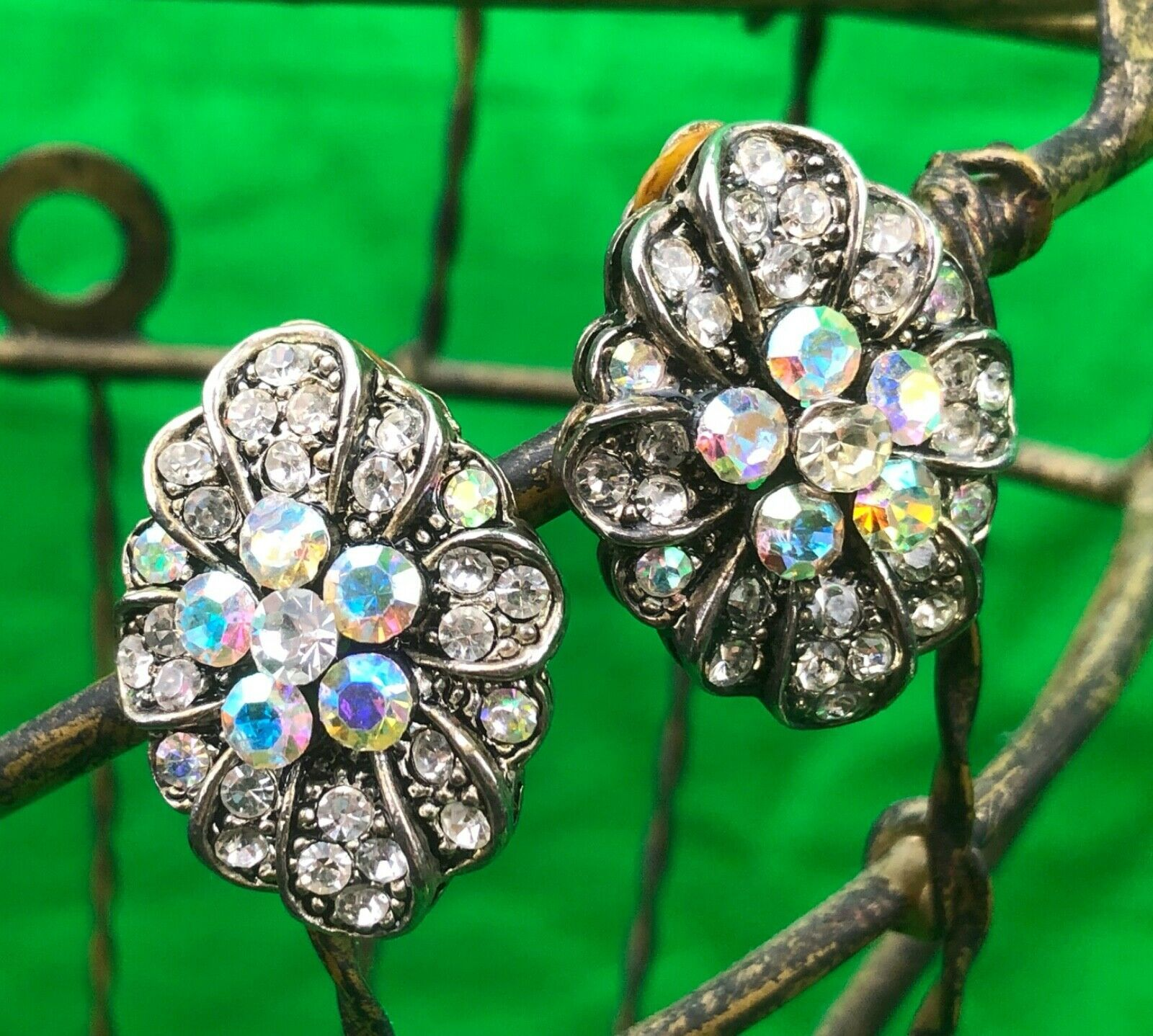 Primary image for Vintage Clear Rhinestones Silver Tone Clip On Earrings