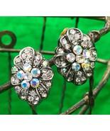 Vintage Clear Rhinestones Silver Tone Clip On Earrings - $6.26