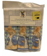 Vtg Peter Rabbit Receiving Blankets 3ct 100% Cotton Flannel NEW IN PACKA... - $59.39