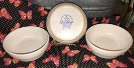 Vintage FRANCISCAN White Lot of 3 CEREAL / SOUP Stoneware Bowls Ringed B... - $29.36