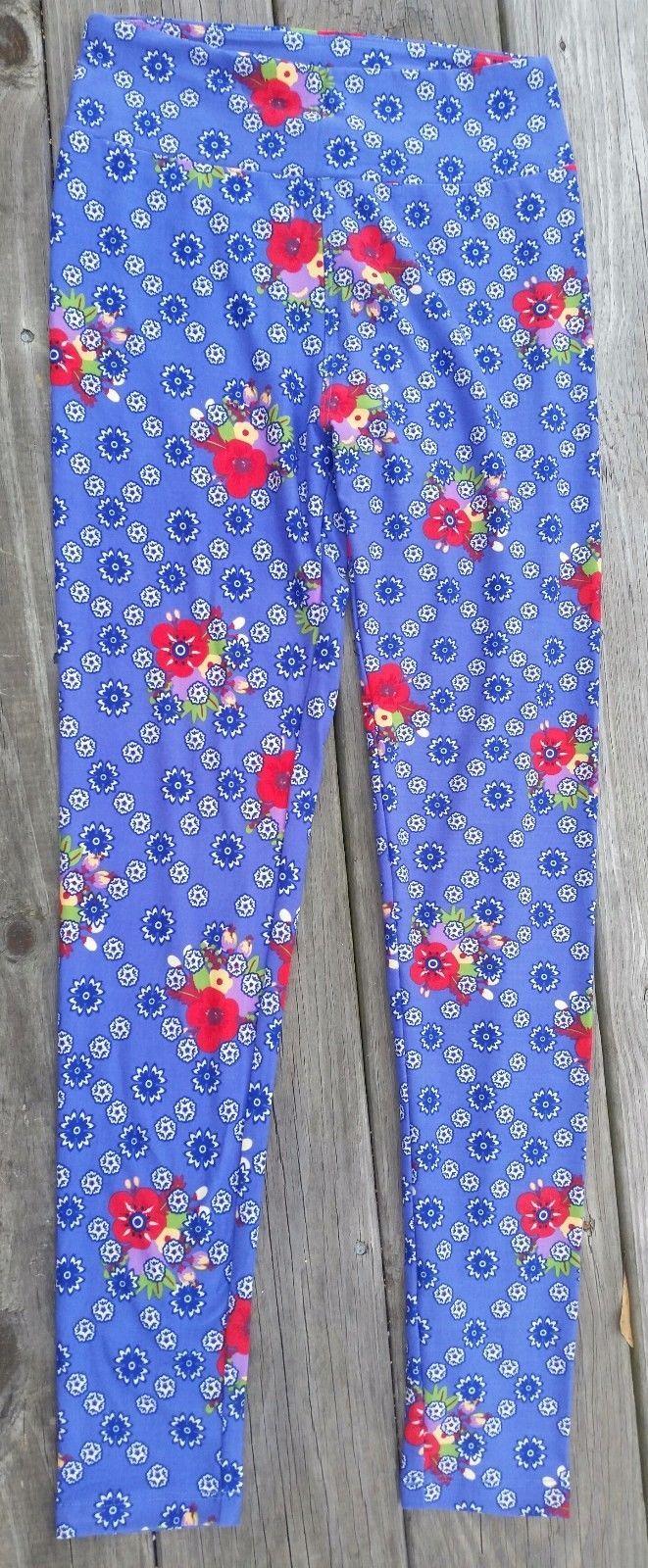 Lularoe OS One size Purpley Blue Floral Leggings Brand New So Cute! image 2