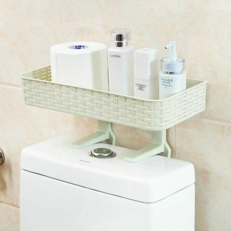 Wall Mounted Plastic Storage Rack Suction Bathroom Kitchen Shelf Basket Holder