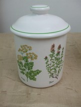 Small Canister Jar Four Herbs Rosemary Parsley Thyme Certified International Vtg - $14.26