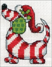 """Design Works Counted Cross Stitch Kit 2""""X3""""-Candy Cane Dog (14 Count) - $7.68"""
