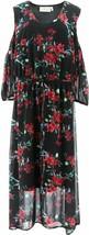 LaBellum Hillary Scott Cold-Shoulder Maxi Dress BLACK RED 1X NEW 624-735 - $22.74