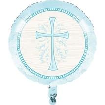 "Divinity Blue Cross Metallic Foil Mylar Balloon 18"" Baptism Confirmation... - $6.59"