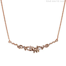 Natural BAGUETTE Diamond Pendant Necklace 18 K Solid Rose Gold Handmade ... - $1,130.88
