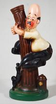 Vintage Nasco Japan Hand Painted Porcelain Holder Man in Tree w/ Black P... - $75.99