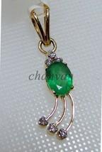 Artisan Genuine Diamond Solid 14K Gold Hallmark Gift Emerald Pendant #30... - $975.62