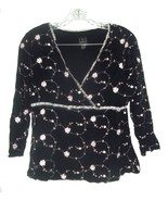 I.N.C. Black Sheer Top with Pink and White Embroidered Flowers Stretchy ... - $25.64