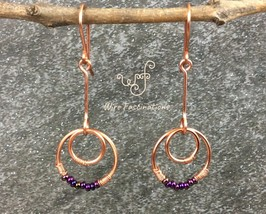Handmade copper earrings: dangling small hoops with metallic purple iris... - $27.00