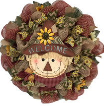 Sunflower Scarecrow Autumn Welcome Wreath Handmade Deco Mesh - $89.99