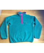 PATAGONIA FLEECE SYNCHILLA  SNAP-T PULLOVER (SIZE 12) GREEN KIDS - $18.69