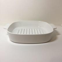 "10"" White Cooker Casserole Grill Corning Ware M-10-GR-B  - $24.18"
