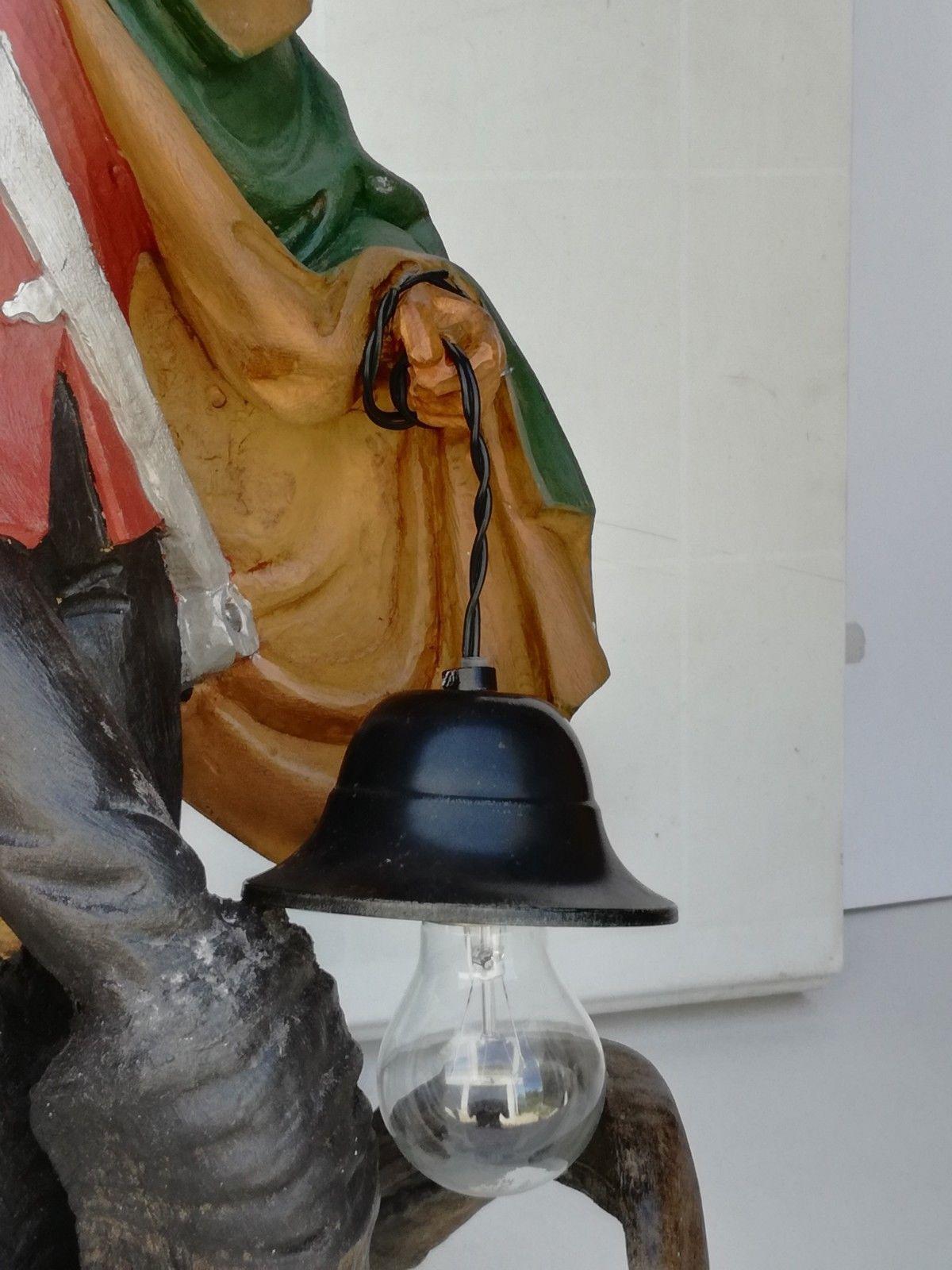 Antique Black Forest German chandelier ceiling lamp figural wood handcarved horn image 12