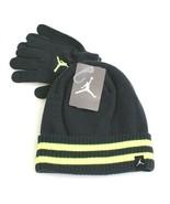 Nike Jordan Gray & Volt Knit Cuff Beanie & Stretch Gloves Youth Boy's 8-... - $29.69