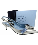 Prada Logo Bow Loafers 39 Silver Leather Slingback Pointed Toe Pumps Shoes  - $369.00