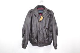 Vintage 90s Nautica Mens Size 40 Leather Bomber Flight Jacket Coat Dark ... - $114.79