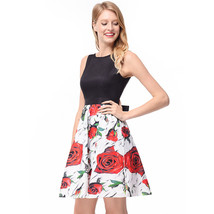 AOVEI White Floral Print Black Vest Hit Color Night Out Pleated Beach Dress - $24.99