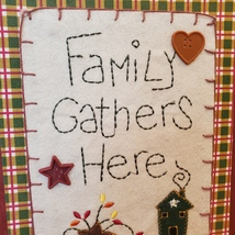 """Wooden Plaque """"Family Gathers Here"""", fall harvest country decor, fabric buttons image 2"""