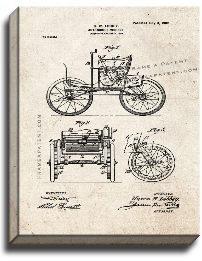 Primary image for Automobile Vehicle Patent Print Old Look on Canvas