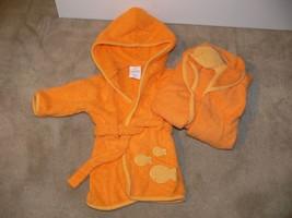 Carter's Baby Whale Robe & Bath Towel Set Orange Size 0-9 months 21 lbs - $11.50