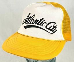 Atlantic City Trucker Hat-Yellow-Mesh-Snapback-Rope Bill-Vtg - $23.36