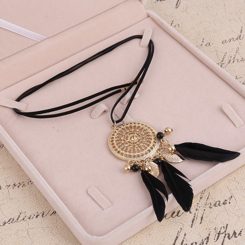 Primary image for Elegant Feather Long Beaded Black Chain Tassel Necklaces For Women