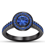 14k Black Gold Finish 925 Sterling Silver Blue Sapphire Womens Engagemen... - $76.99