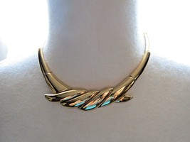 "Monet Necklace Couture Gold Plated Bib Bold Link 16"" Designer Nice NWT V... - $29.69"